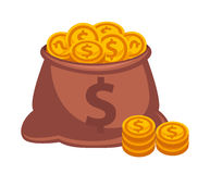 Money bag vector icon. Isolated on white Stock Images