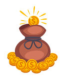 Money bag vector icon. Isolated on white Royalty Free Stock Image