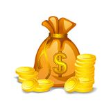Money Bag. Vector illustration of money bag filled with gold coin Stock Photography