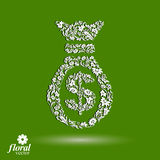 Money bag vector stylized icon, floral banking theme icon. Busin Royalty Free Stock Photos
