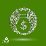 Money bag vector stylized icon, floral banking theme icon. Busin Stock Image