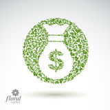 Money bag vector stylized icon, floral banking theme icon.  Stock Photography