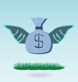 Money bag with wings Royalty Free Stock Image