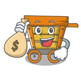 With money bag wooden trolley character cartoon. Vector illustration royalty free illustration