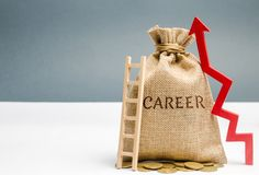 Money bag with the word Career and a ladder with up arrow. Self-development and leadership skills. Career ladder is a process of. Career growth, the achievement royalty free stock image