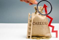 Money bag with the word Career and a ladder with up arrow. Self-development and leadership skills. Career ladder is a process of. Career growth, the achievement royalty free stock images