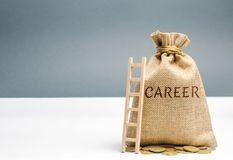 Money bag with the word Career and a wooden ladder. Self-development and leadership skills. Career ladder is a process of career. Growth, the achievement of royalty free stock photography