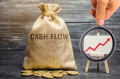 A money bag with the word Cash Flow and a chart with an up arrow. Financial planning. Financial management concept. Analysis of. The movement of money. Interest royalty free stock image