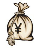 Money bag with yen sign  illustration Stock Photography