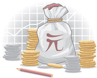 Money Bag with Yuan (Chinese Currency). Symbol and Coins royalty free illustration