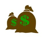 Money bags. Two sacks of money over a white background Stock Image