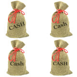 Money bags of cash Stock Photos