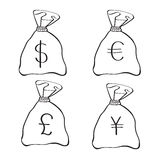 Money Bags with currency symbols Royalty Free Stock Photo