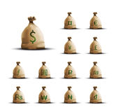 Money Bags with currency symbols Stock Photo