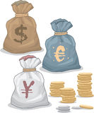 Money Bags with different Currency Royalty Free Stock Photo