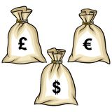 Money bags with dollars, euro and pound. Vector Royalty Free Stock Image
