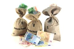 Money bags with Euros Stock Photography