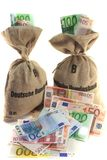 Money bags with Euros Stock Photo
