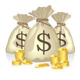 Money Bags Full of Dollar Coins Royalty Free Stock Photo