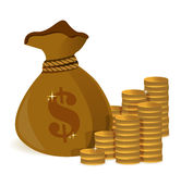 Money bags and gold coins Royalty Free Stock Images