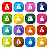 Money bags, set colored buttons Stock Photo