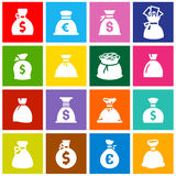 Money bags, set icons on colored squares Royalty Free Stock Photo