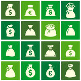 Money bags, set icons on green squares Royalty Free Stock Photos
