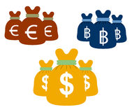 Money bags set vector design euro dollars and bath. Stock Images