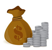Money bags and silver coins Royalty Free Stock Images