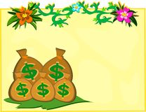 Money Bags with Vines and Flowers Stock Photos