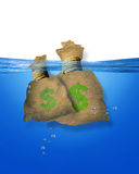 Money bags in water Royalty Free Stock Photos