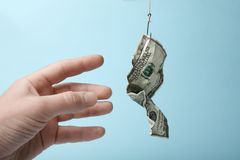 Money bait trapped. Business success and danger. Debt dependency.  royalty free stock photos