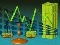 Money balance. Abstract colored illustration with balance, coins, building and the arrow of success Stock Image