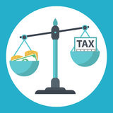 Money balancing with TAX on scales. TAX burden Stock Photography