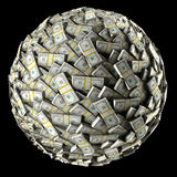 Money Ball. Abstract money ball isolated on black background Stock Photos