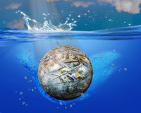 Money ball into blue waters. Money ball sinking into oceans blue waters stock illustration