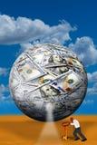 Money Ball and Worker. Money ball and worker with key royalty free illustration