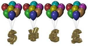 Money balloons Royalty Free Stock Images