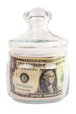 Money in the bank. Keep the money in the bank. One dollar. Isolated object. White background Stock Photo
