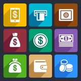 Money and bank Flat Icons Set 40 Royalty Free Stock Image