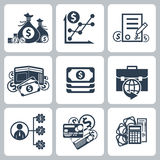 Money and bank icon set. In black color isolated on white background Stock Photography