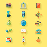 Money and bank icon set. With shadow isolated on white background. Flat icon modern design style concept Royalty Free Stock Photos