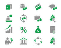 Money and bank icons. Vector icons set Royalty Free Stock Images