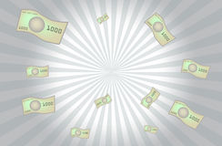 Money bank notes flying vector background. For business and advertisement Stock Photo