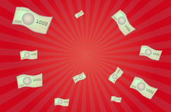 Money bank notes flying vector on red background Royalty Free Stock Photos