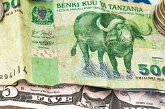 Money Bank of Tanzania Bill Coins Royalty Free Stock Photo