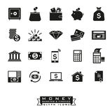 Money, banking and finance glyph icon set. Collection of 20 money, banking and finance related solid icons Royalty Free Stock Photos
