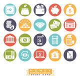 Money, banking and finance round color icon set. Collection of 20 money, banking and finance related icons, negative in colored circles Royalty Free Stock Photography