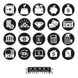 Money, banking and finance round icon set. Collection of 20 money, banking and finance related icons, negative in black circles Stock Photo