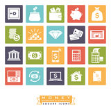 Money, banking and finance square icon set. Collection of 20 money, banking and finance related icons, negative in colored squares Stock Photography